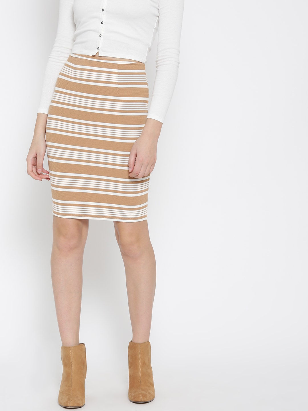 4ea7eebf4b96 Forever 21 Beige Striped Pencil Skirt for women price in India on ...