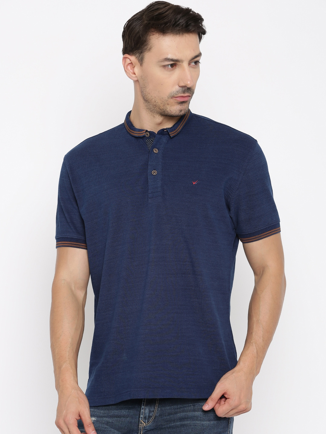 c2f51459a Wills lifestyle 8902789697292 Men Navy Solid Polo T Shirt- Price in India