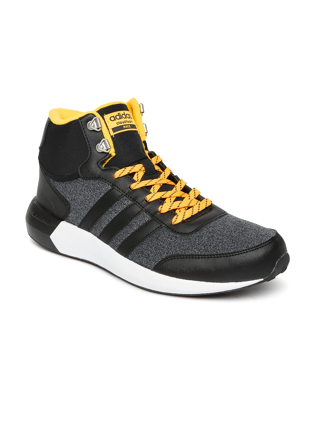 78e2d55f7f2b Adidas aw5274 Neo Men Black And Grey Solid Cloudfoam Race Wtr Mid Top  Sneakers- Price in India