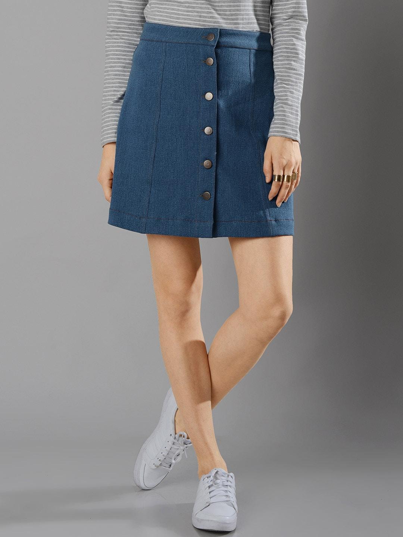 7caa6a5e26 Faballey skt00492d Blue Denim A Line Skirt - Best Price in India ...