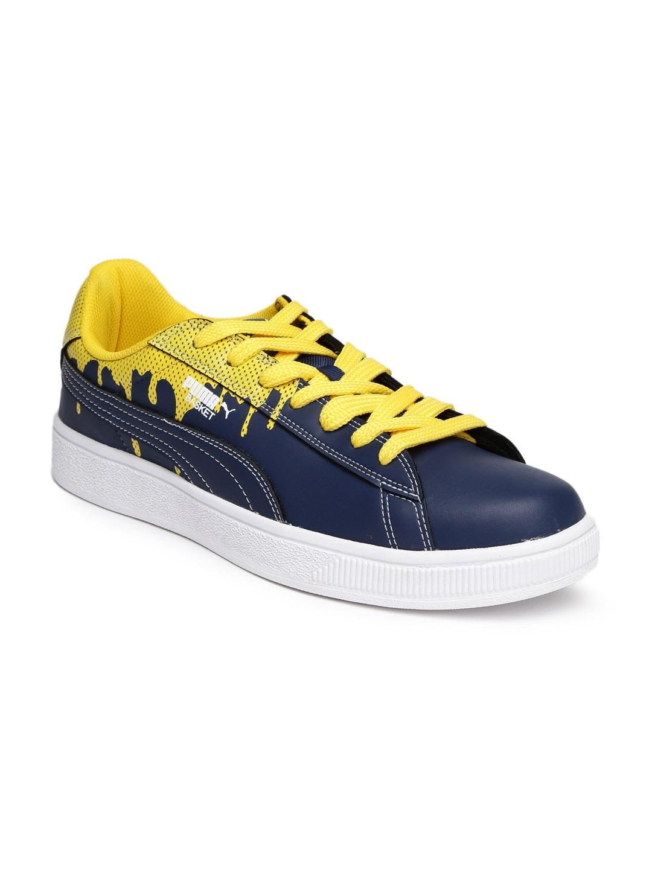 Basket And City Yellow Puma Printed Sneakers Navy Men Dp 36430503 m8N0wvn