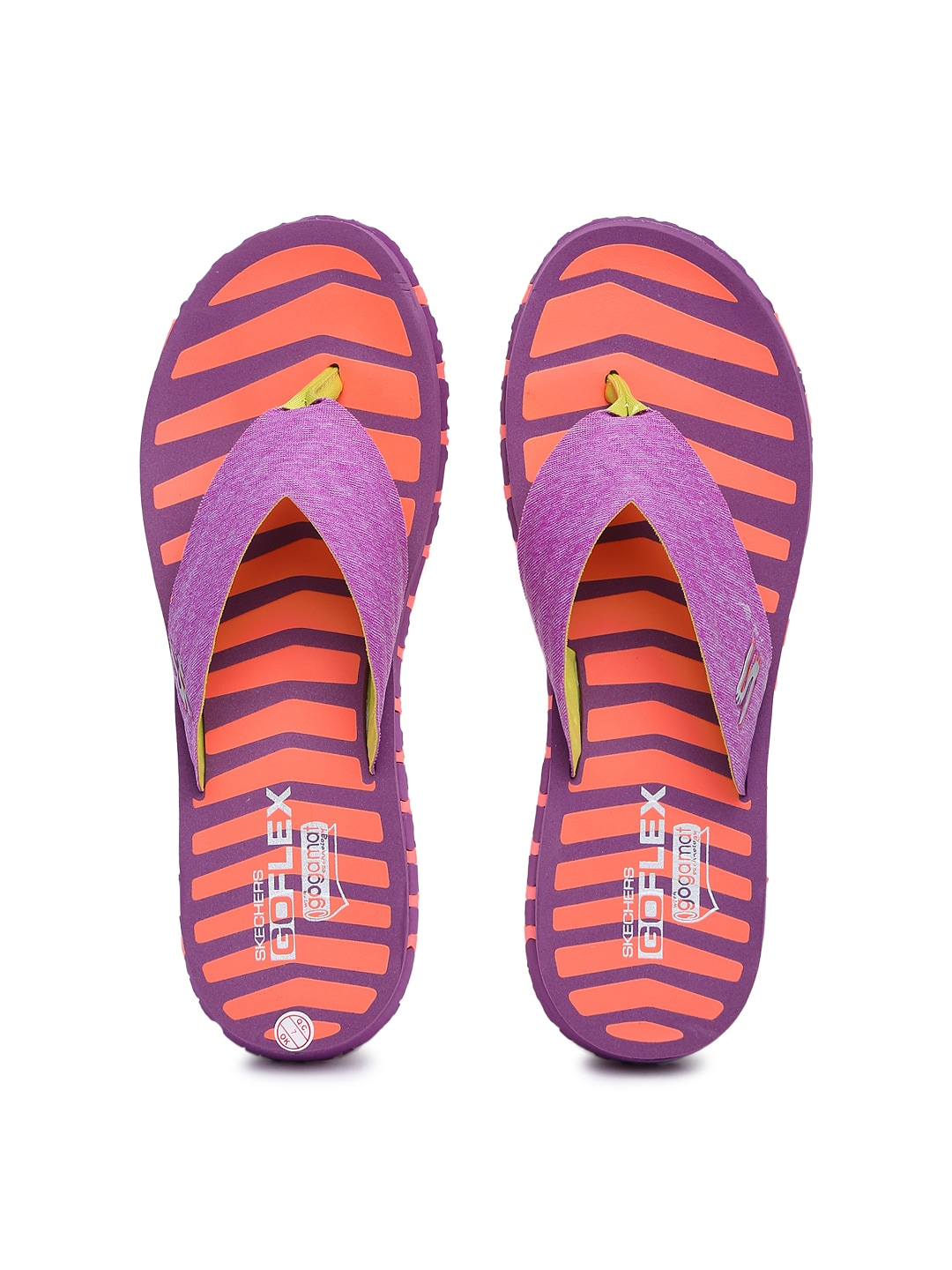 84870b925144 Skechers 14258-pror Women Purple And Orange Stripedn Go Flex Vitality Flip  Flops- Price in India