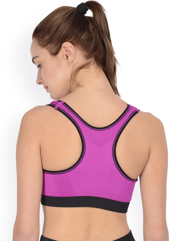 9782e095bc856 Buy PrettySecrets Purple Solid Non Wired Lightly Padded Sports Bra ...
