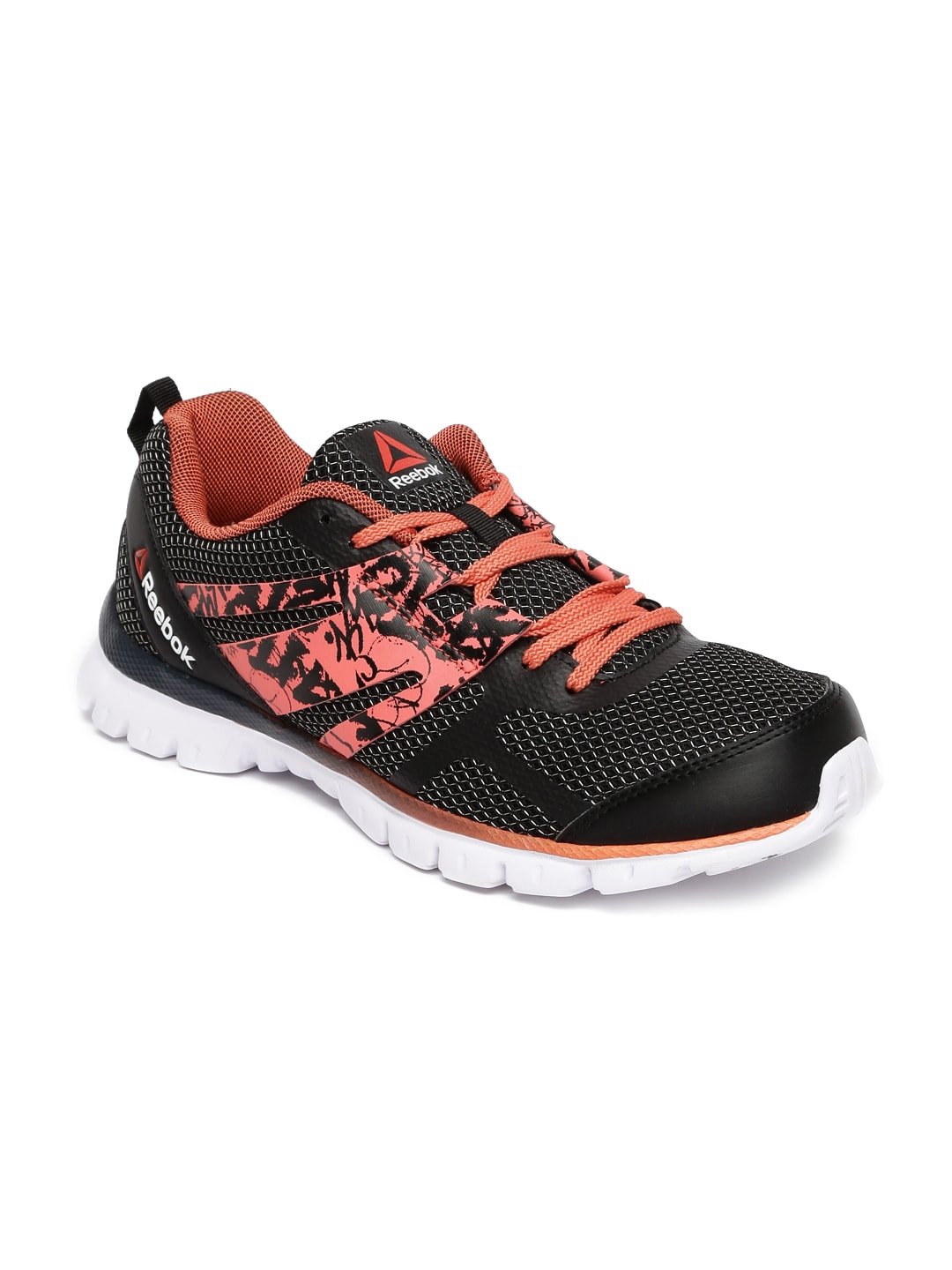 e1b1483e37ef Reebok bs6738 Women Black And Coral Red Speed Running Shoes- Price in India