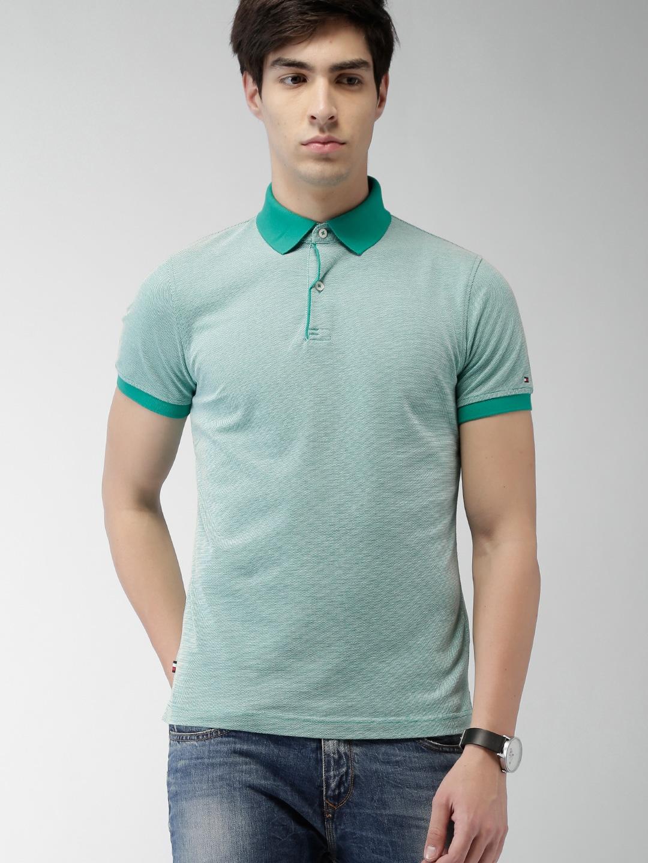 Design your t shirt myntra - Tommy Hilfiger Men White Navy Self Design Polo T Shirt