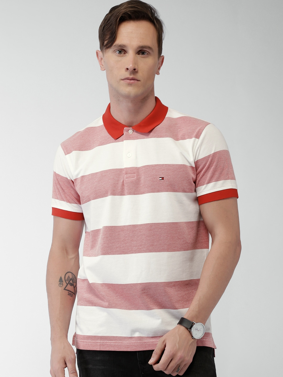 20e392791d Buy Tommy Hilfiger Men Red & White Slim Fit Striped Polo Collar T ...