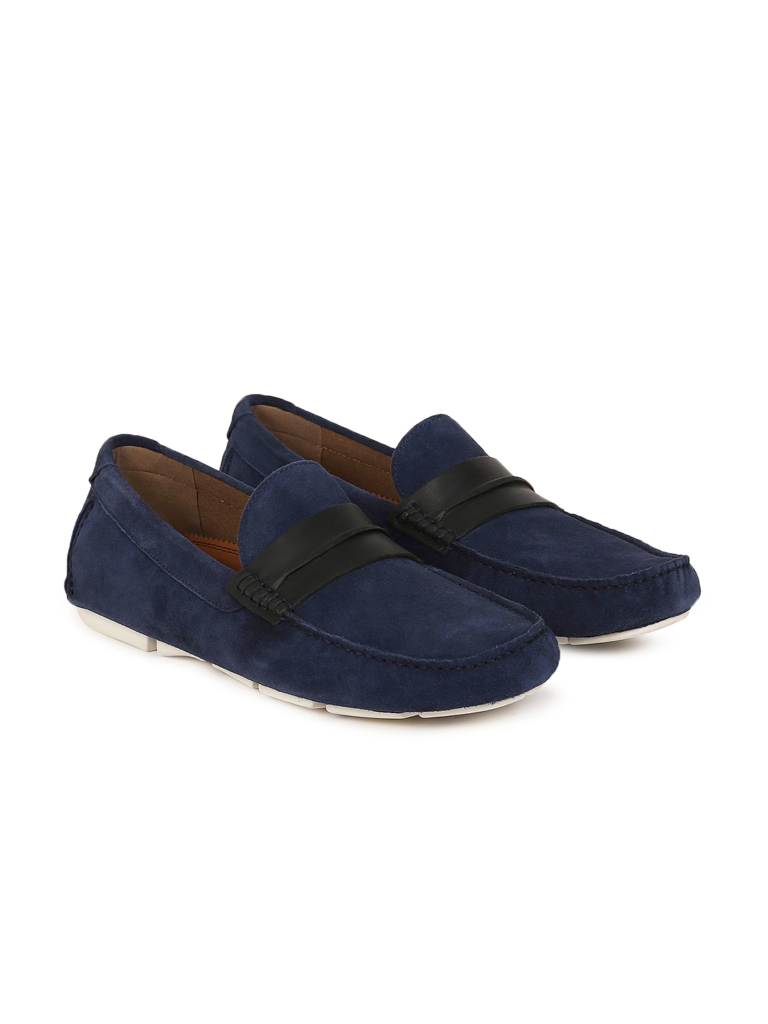 32802266091 Buy Steve Madden Men Navy Blue Suede Loafers - Casual Shoes for Men ...