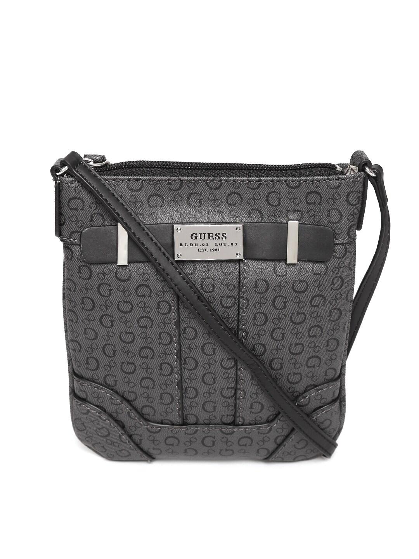 5d01b82478d2 Guess 885935985536 Charcoal Grey Logo Print Sling Bag- Price in India