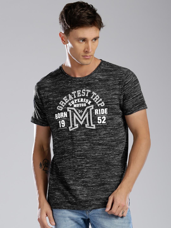 Design your t shirt myntra - Bossini Men Blue Self Design T Shirt