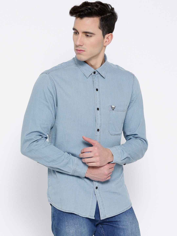 5ec5f01896b Buy John Players Men Blue Trim Fit Faded Denim Shirt - Shirts for ...