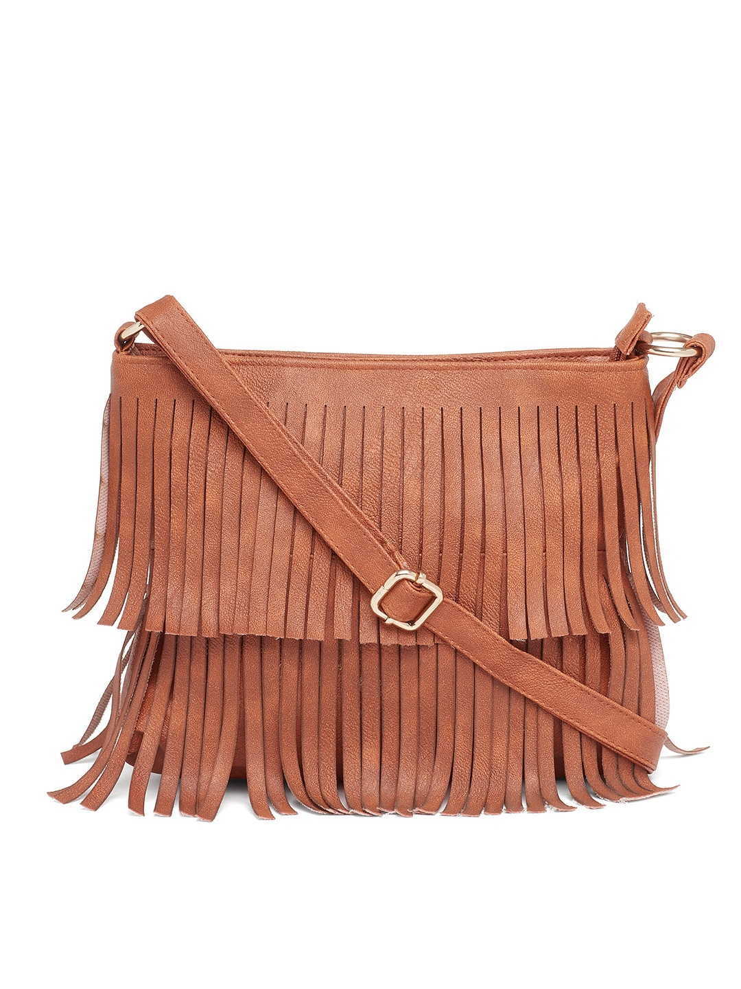 Buy Alessia74 Coffee Brown Sling Bag With Fringes - Handbags for ...