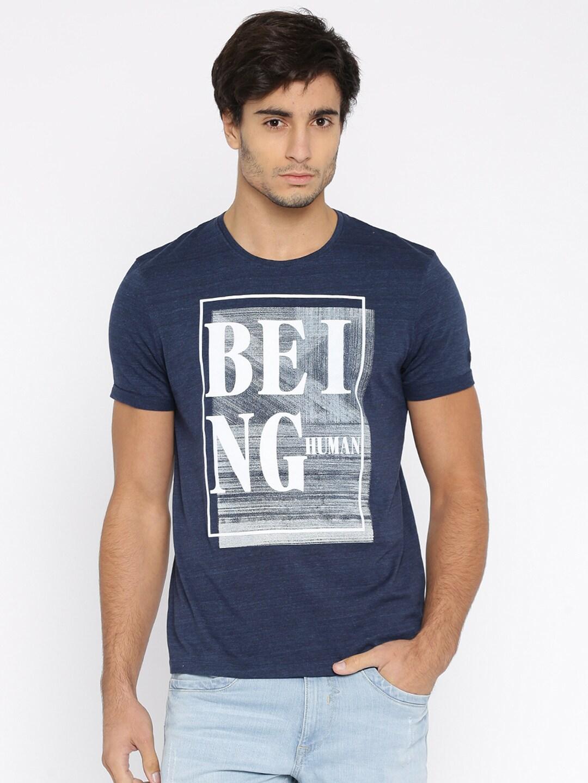 Design your t shirt myntra - Being Human Men Grey Self Design Round Neck T Shirt