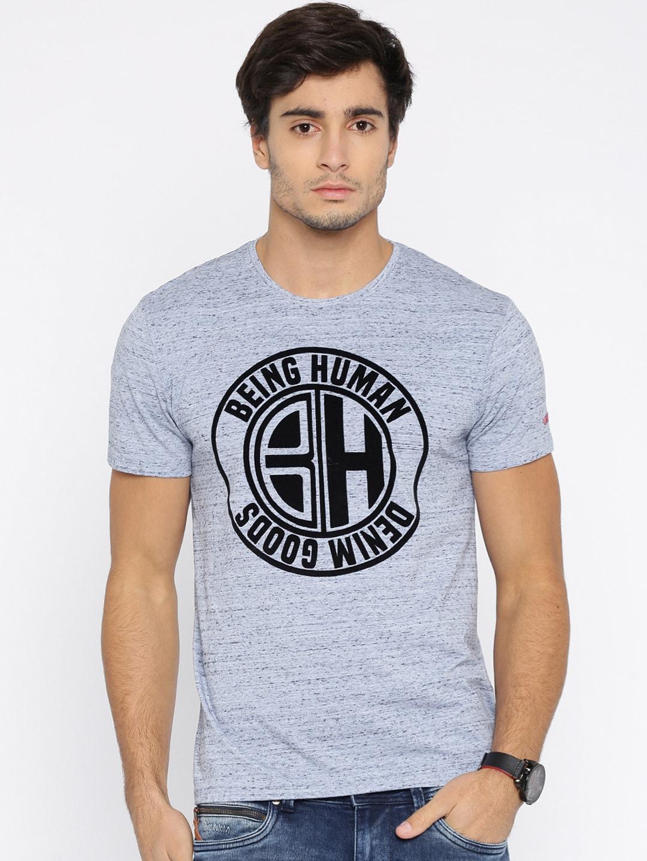 Design your t shirt myntra - Being Human Men Blue Self Design Round Neck T Shirt