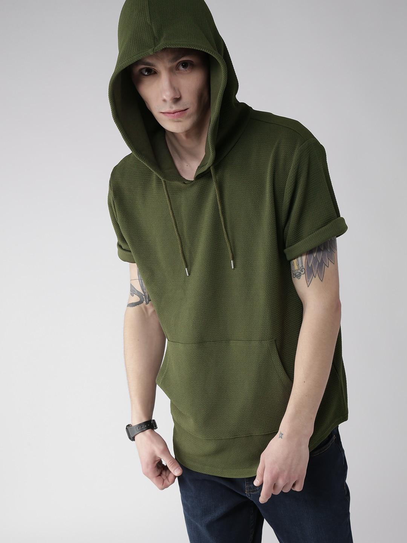 Design your t shirt myntra - Forever 21 Men Beige Self Design Hooded T Shirt