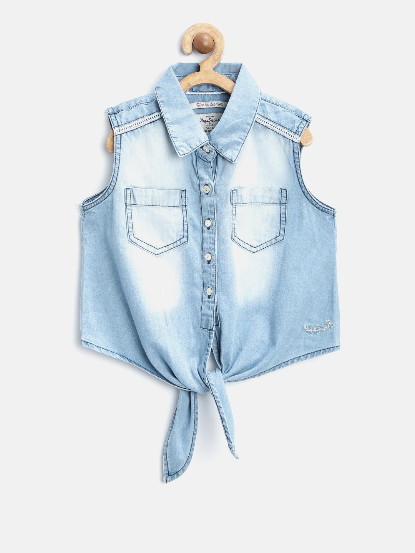 Buy Pepe Jeans Girls Blue Faded Denim Shirt Shirts For Girls