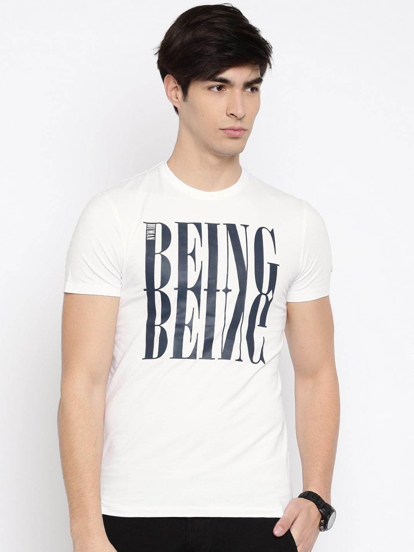 Design your t shirt myntra - Being Human Clothing Men Black Self Design Round Neck T Shirt