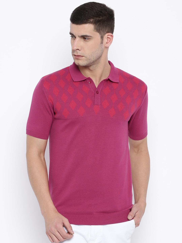 Design your t shirt myntra - Van Heusen Men Blue Self Design Polo T Shirt