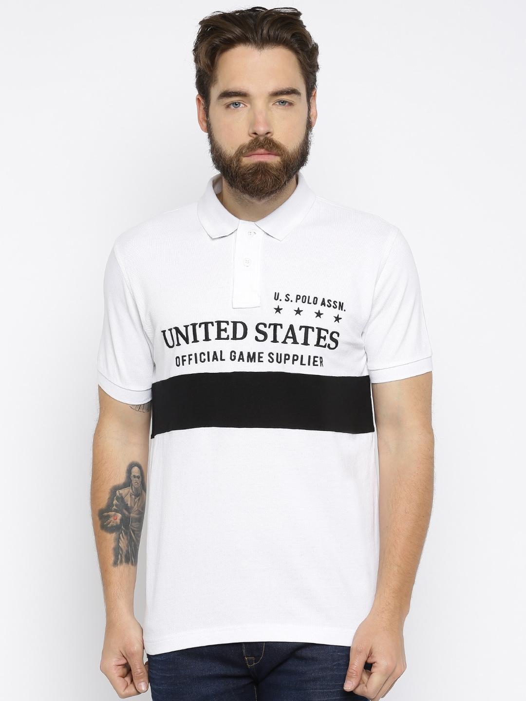 Design your t shirt myntra - U S Polo Assn Men Black Self Design Polo T Shirt