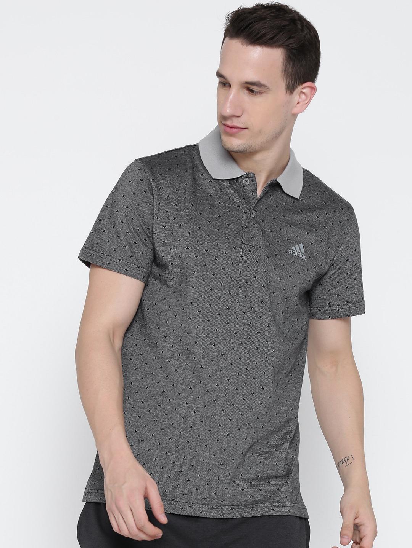 Design your t shirt myntra - Adidas Men Blue Tp Aop Self Design Polo Collar T Shirt