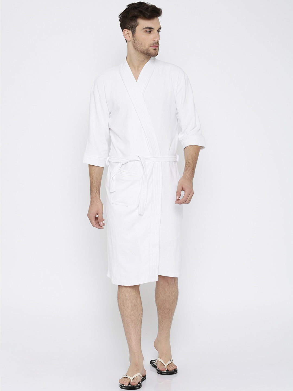 Buy Sand Dune Brown   White Striped Bathrobe - Bath Robe for Men ... 6743d6afc