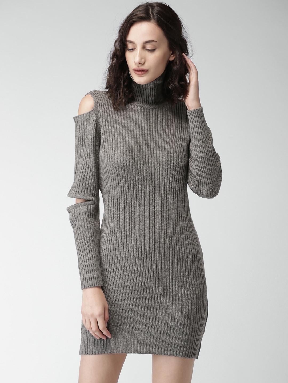 5b41a65af28e Buy DressBerry Women Coral Orange Cold Shoulder Sweater Dress ...