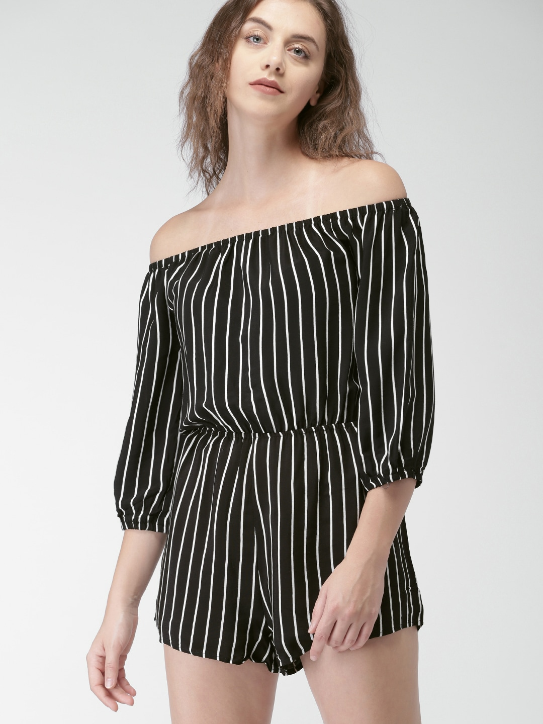 691a9c5ce7e Buy FOREVER 21 White   Red Striped Playsuit - Jumpsuit for Women ...