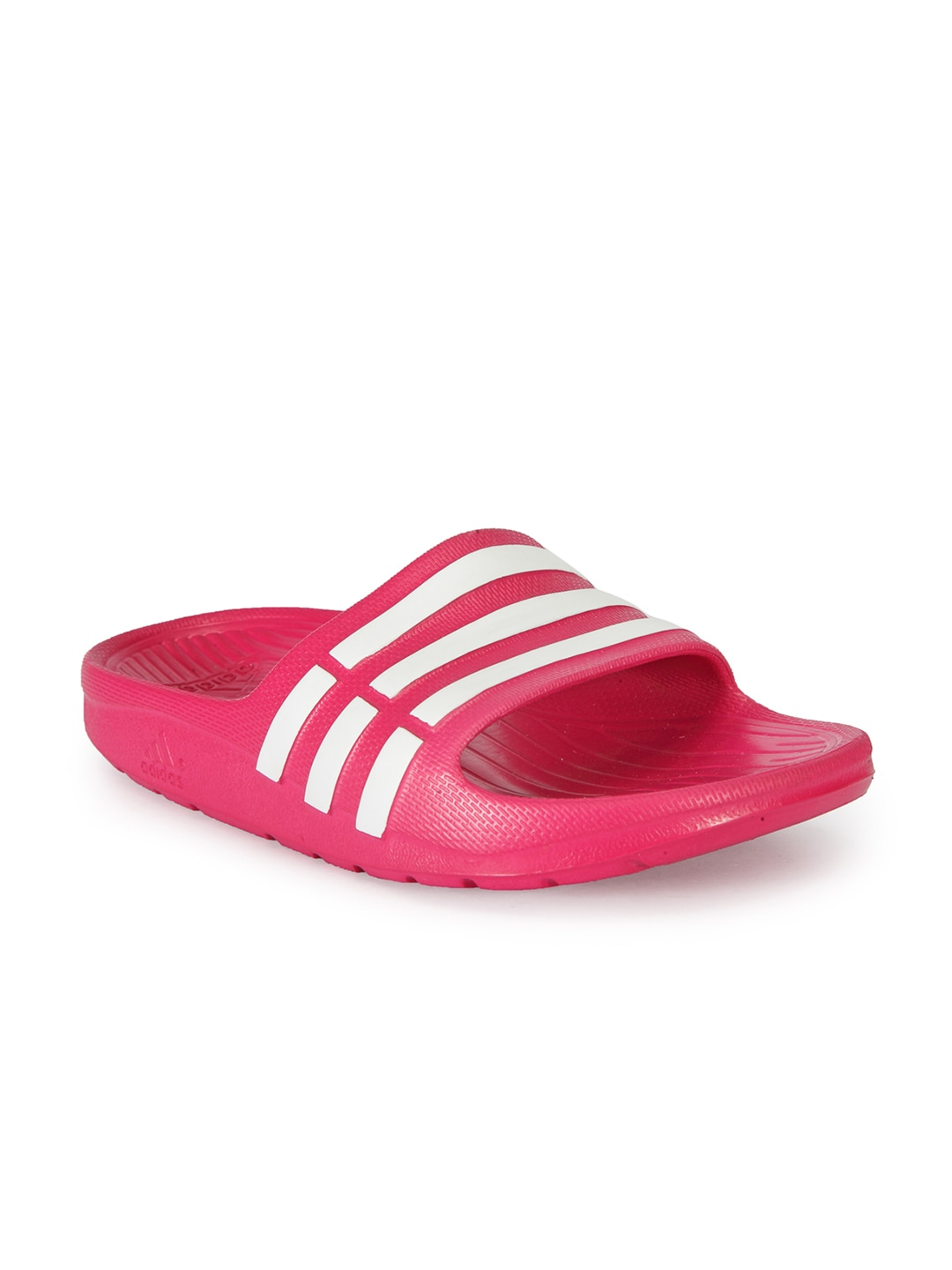 012eade92 Adidas Magenta   White DURAMO SLIDE Striped Flip Flops for girls in ...