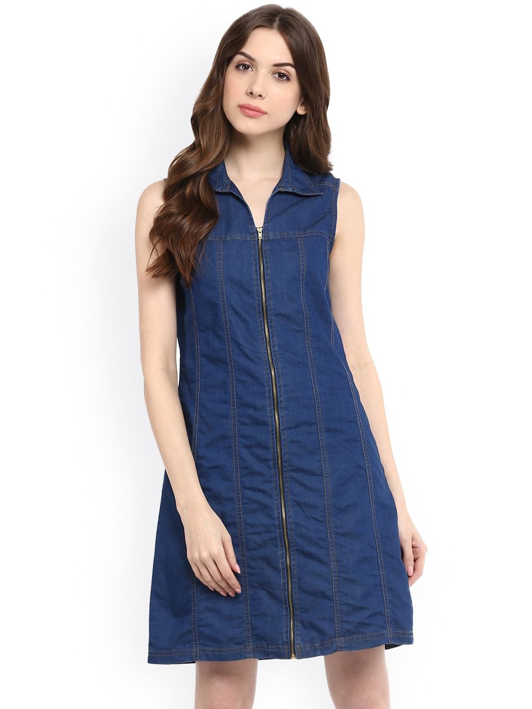 b4c3f65e31e Buy StyleStone Women Blue Denim Fit & Flare Dress - Dresses for ...