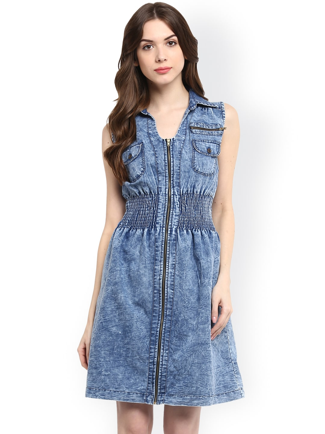 897c69ff3c588 Buy StyleStone Women Blue Denim Fit   Flare Dress - Dresses for ...