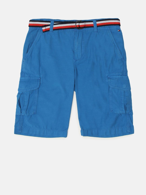 aa8039da85f Buy Tommy Hilfiger Boys Blue Solid Regular Fit Sports Shorts ...
