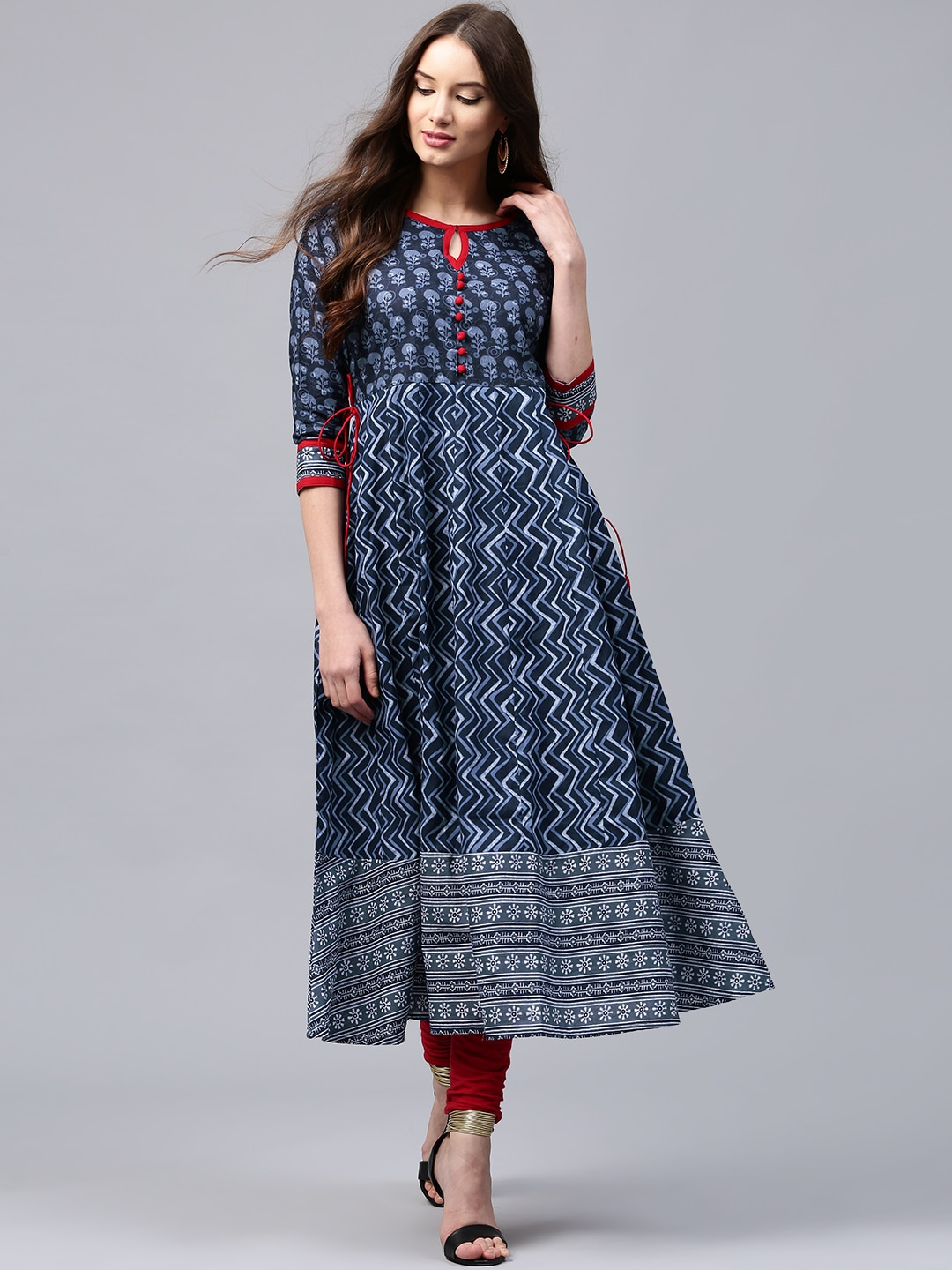 5f88310b4c0 Libas Navy Blue Printed Anarkali for women price in India on 30th ...