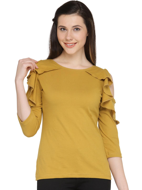 06fe7f8ecb57a Buy U F Women Mustard Yellow Lightweight Solid Cold Shoulder Top ...