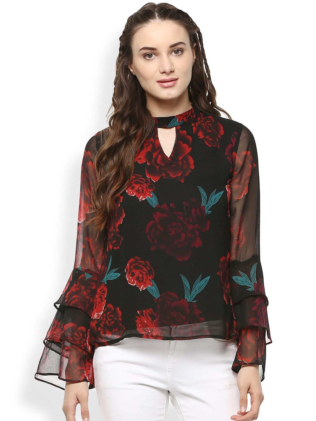 0ed701d2780 Buy RARE Women Navy Blue & Red Printed Top - Tops for Women 1953536 ...