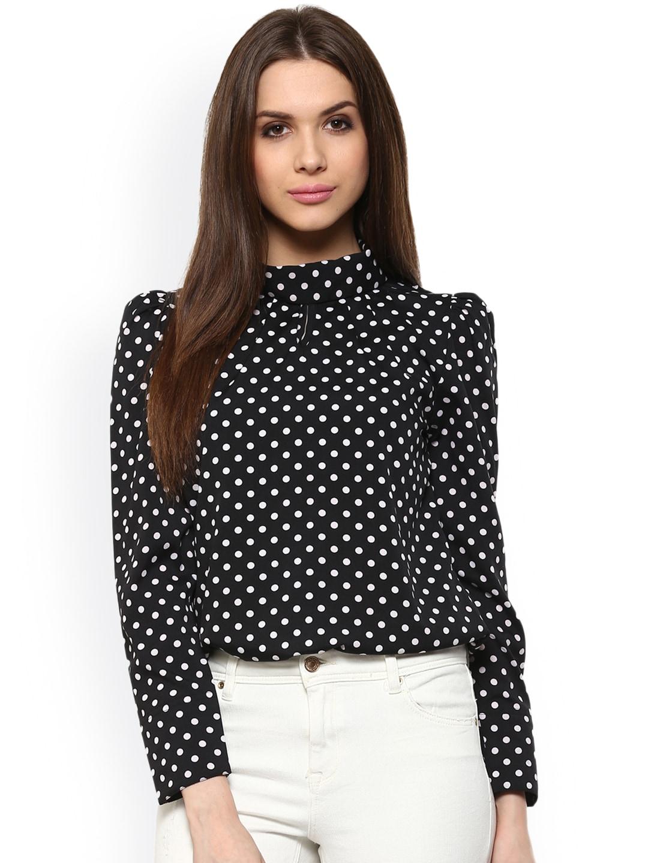 5f1c128c239b1a Buy Cation Women Black   White Polka Dot Print Top - Tops for Women ...
