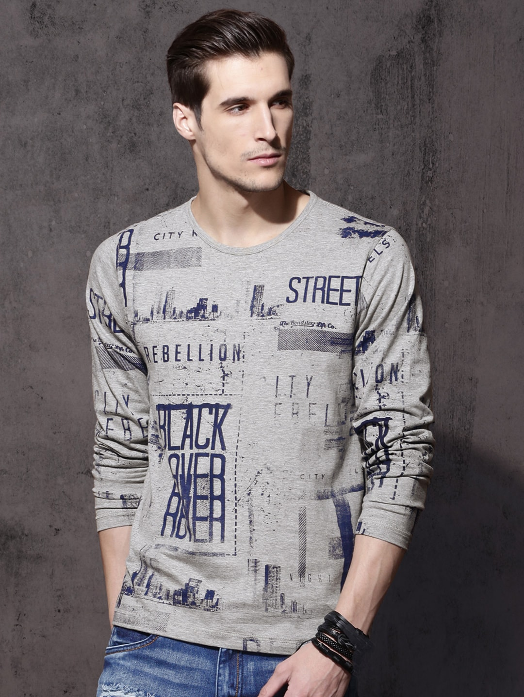 c50376715734 Buy Roadster Grey Flock Print T Shirt - Tshirts for Men 1301358
