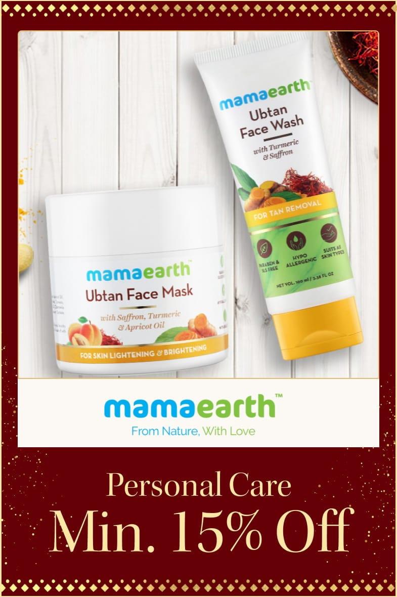 myntra.com - 15% off on Mama Earth personal care