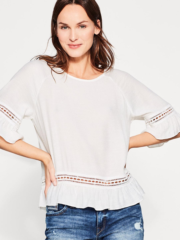 73129ea8ca9a3b Buy ESPRIT Women Off White Embellished Bardot Top - Tops for Women ...
