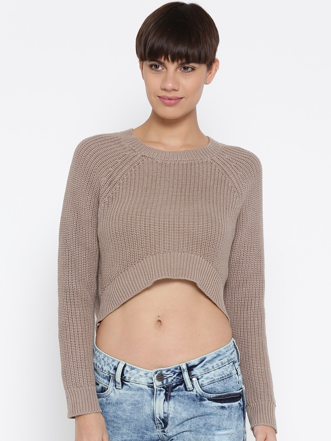 9e6472f41df9e Buy FOREVER 21 Women Charcoal Grey Ribbed Cropped Sweater - Sweaters ...