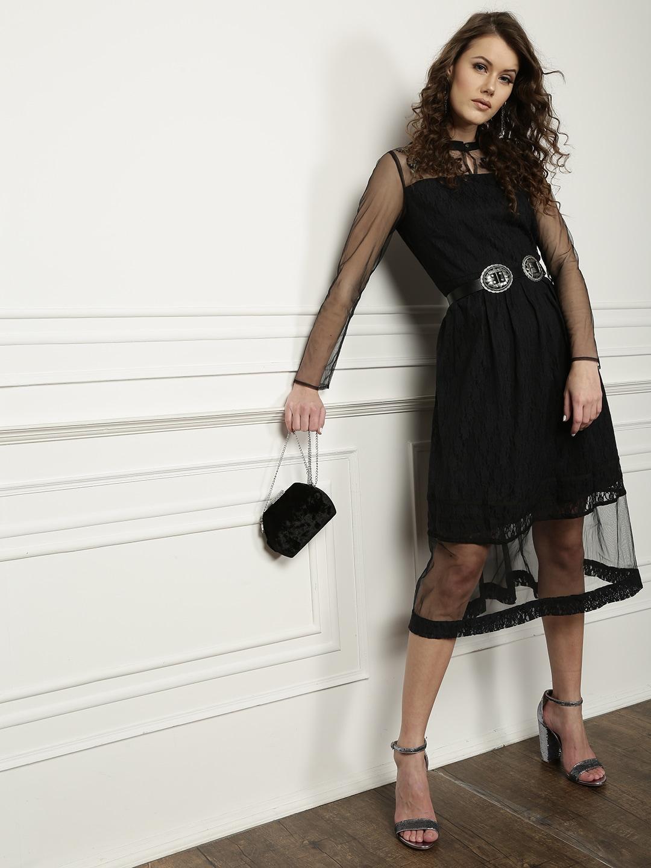 24c2d19b13 Buy SASSAFRAS Women Black Solid Sheer A Line Net Dress - Dresses for ...