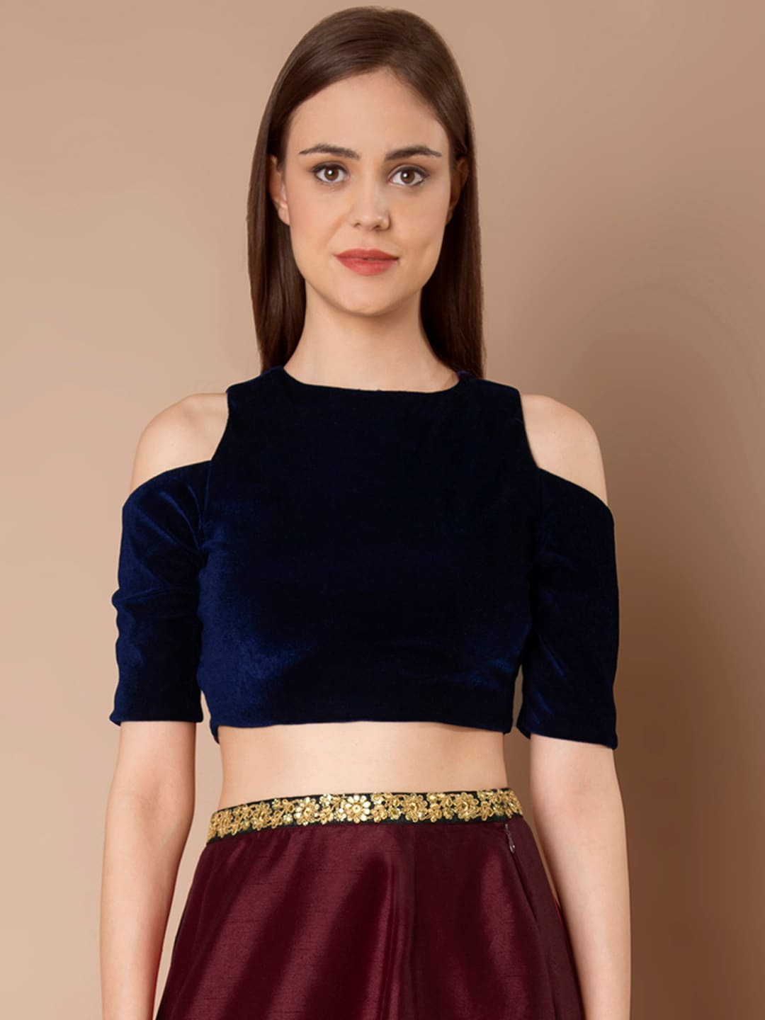 c86c4bb253be6a Buy Madame Women Navy Blue Solid Cold Shoulder Crop Fitted Top ...