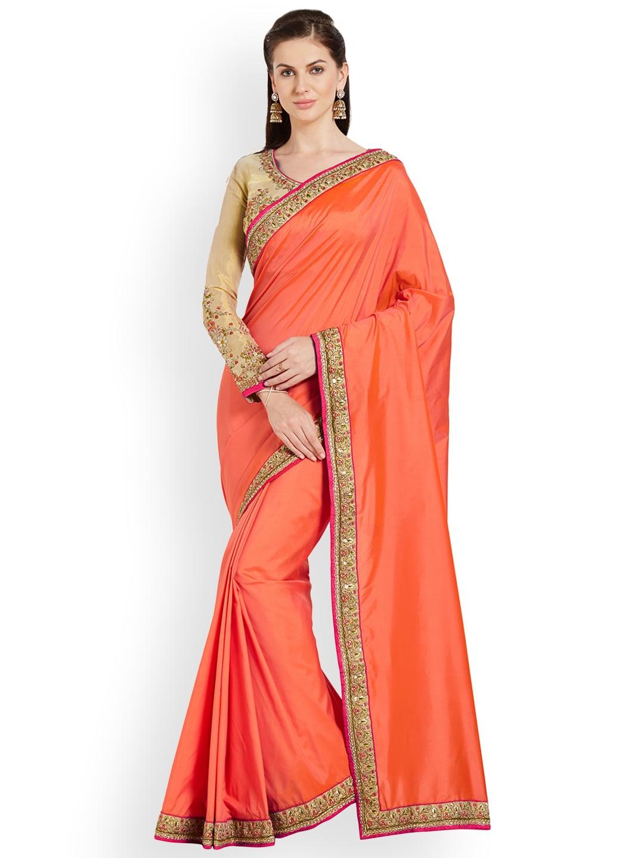 fe5c9edf266 Buy RIYA Red   Gold Toned Poly Chiffon Embroidered Saree - Sarees ...