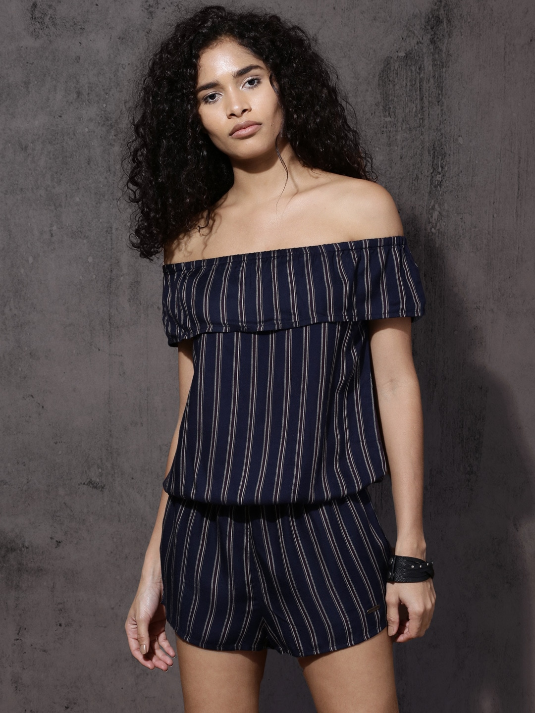 89f9a398ab Buy Envy Me Black   White Striped Layered Off Shoulder Playsuit ...
