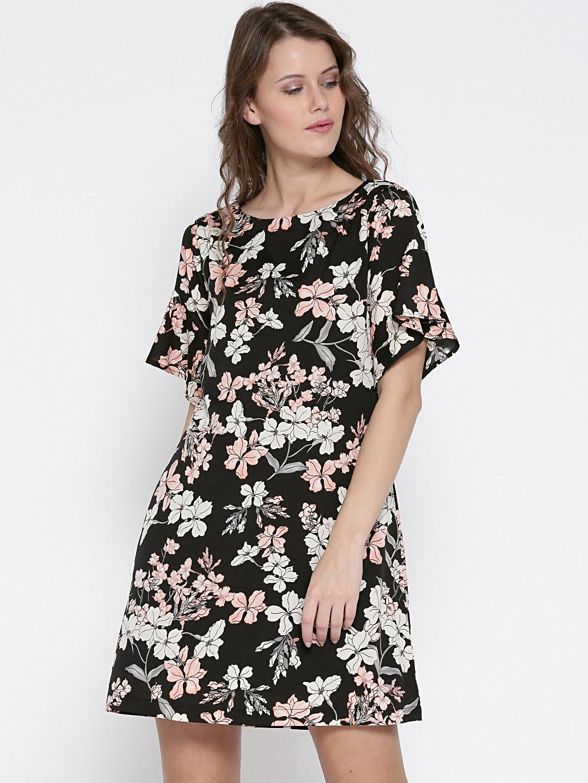 40f35c8f35a Buy Sera Women Black Floral Print Cold Shoulder A Line Dress ...