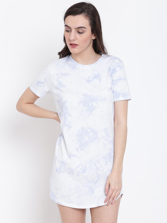 f181c0c376 Buy FOREVER 21 Women Grey   White Printed T Shirt Dress - Dresses ...