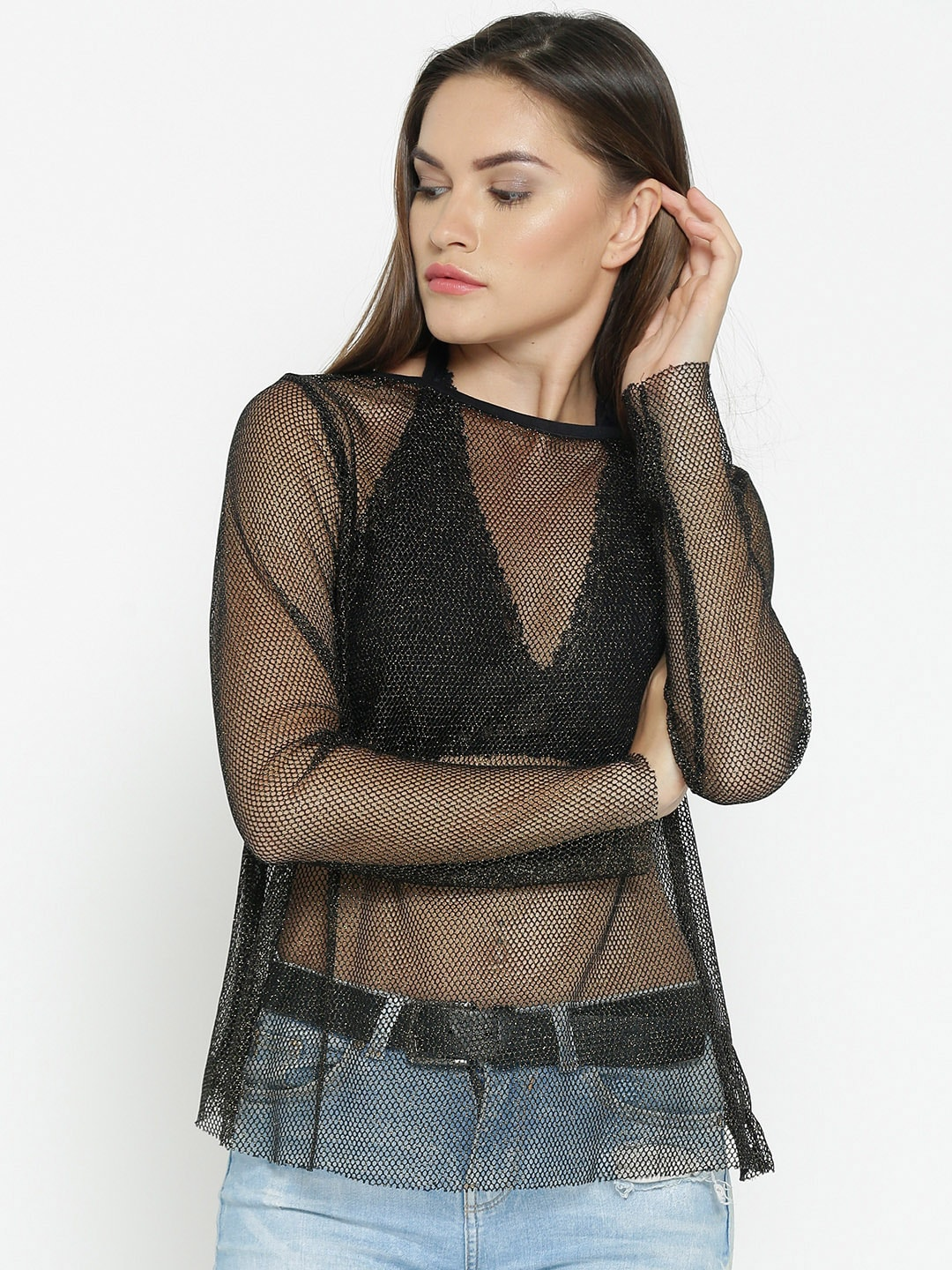 05b91859f3942a Buy Besiva Women Black Solid Sheer Top With Bralette - Tops for ...