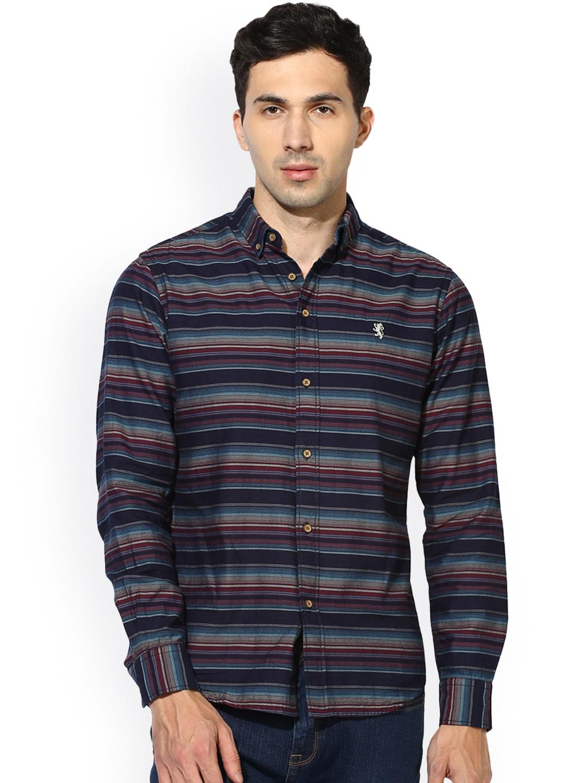 d49d2ba7a Buy I Voc Men's Navy Blue Striped Casual Shirt - Shirts for Men ...
