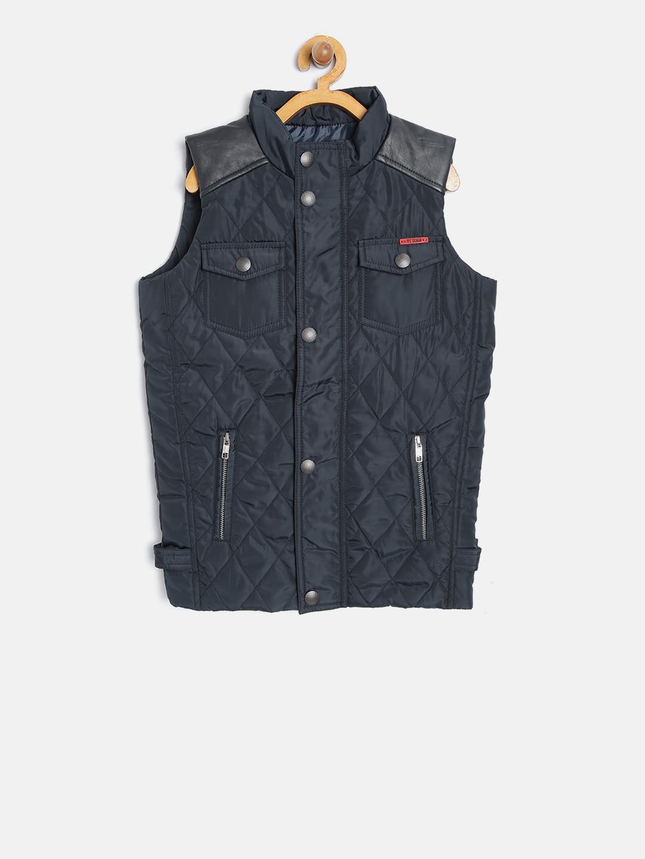 45cbf99a1f5e79 Buy Octave Boys Navy Solid Sleeveless Padded Jacket - Jackets for ...