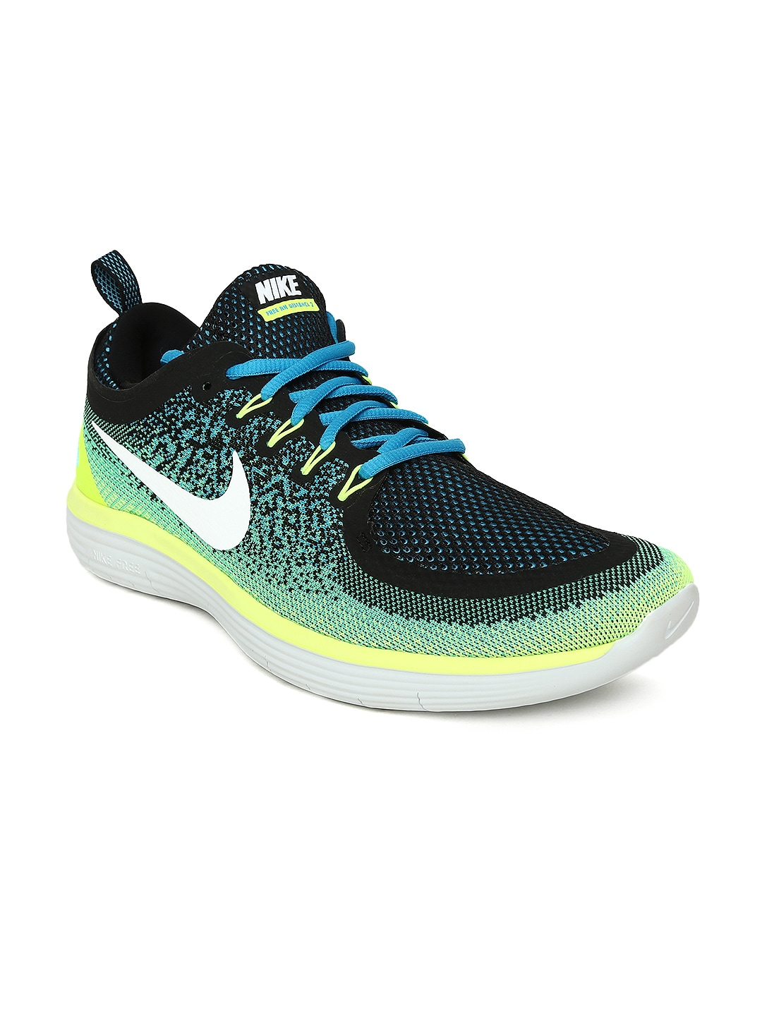 7c0f6accaa18f Nike Free Rn Distance 2 Black Running Shoes for Men online in India ...