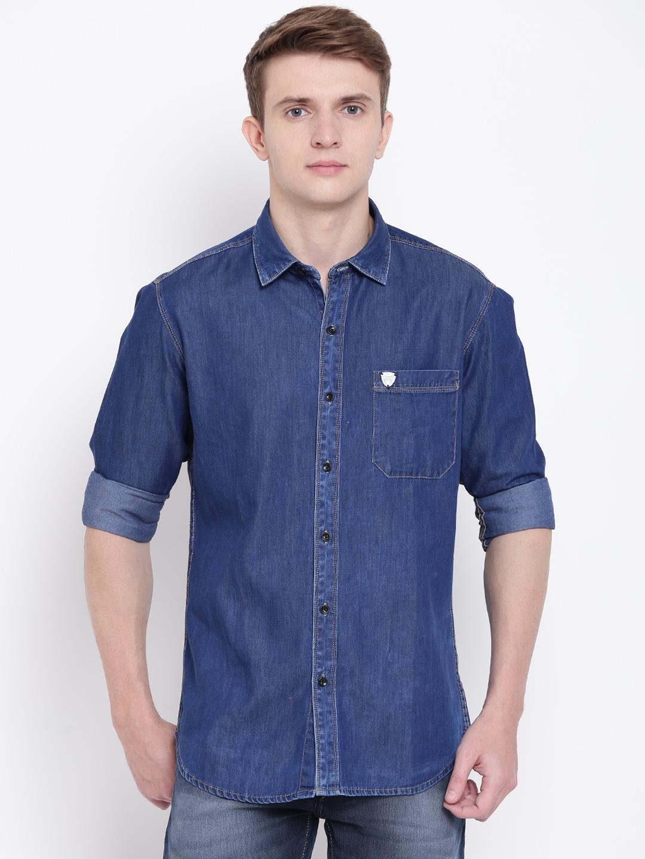 a8440e3a121 Buy John Players Men Navy Blue Trim Fit Solid Denim Shirt - Shirts ...