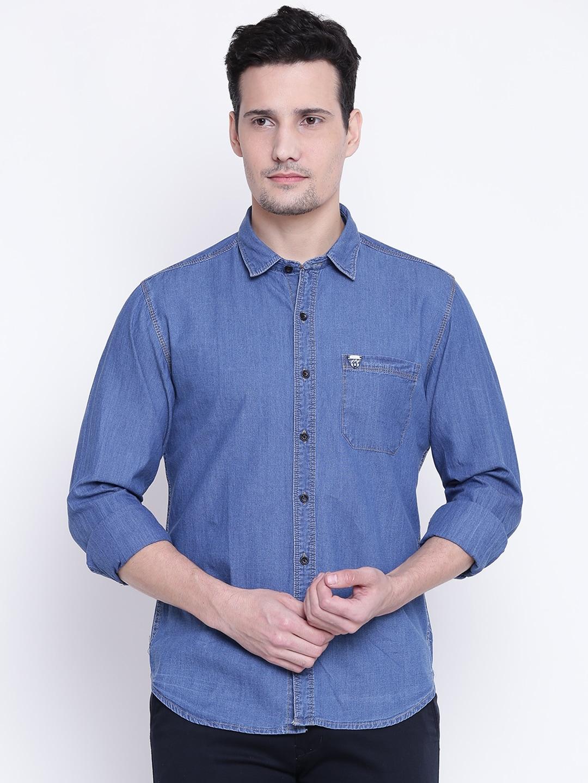 d6a5842f9b0 Buy John Players Men Navy Solid Denim Shirt - Shirts for Men 2254557 ...